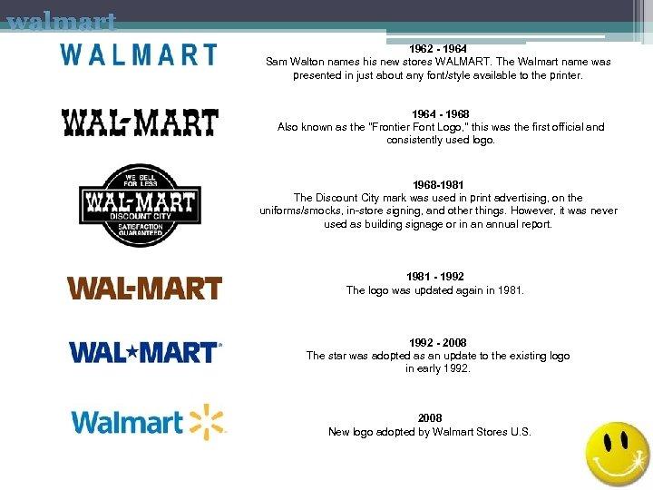 walmart 1962 - 1964 Sam Walton names his new stores WALMART. The Walmart name