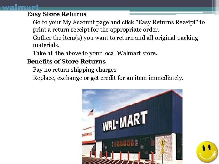 walmart Easy Store Returns Go to your My Account page and click