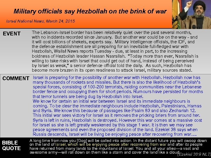 Military officials say Hezbollah on the brink of war Israel National News, March 24,