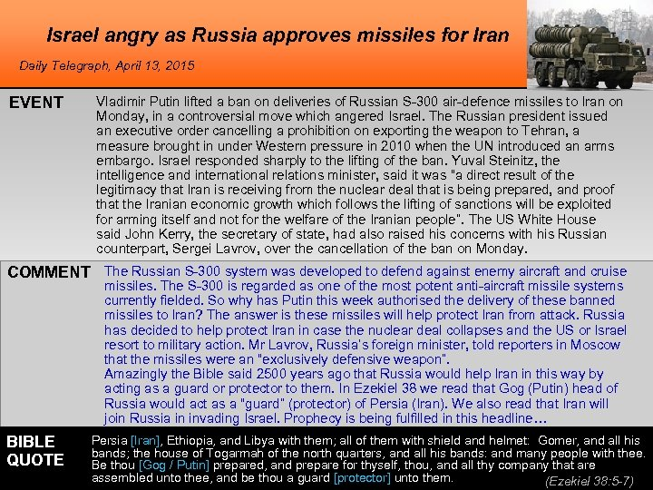 Israel angry as Russia approves missiles for Iran Daily Telegraph, April 13, 2015 EVENT