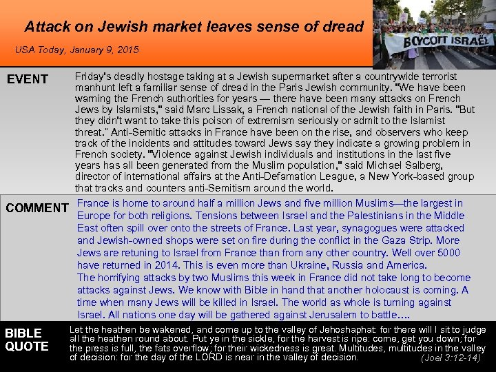 Attack on Jewish market leaves sense of dread USA Today, January 9, 2015 EVENT