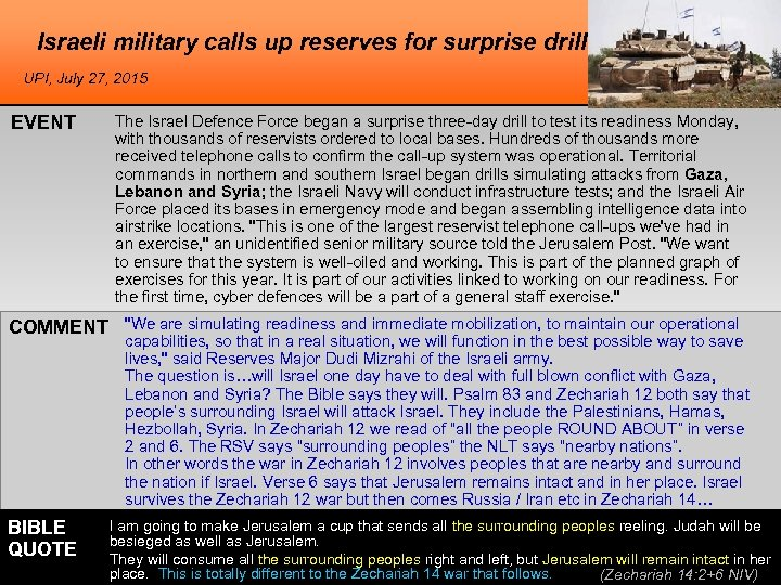 Israeli military calls up reserves for surprise drill UPI, July 27, 2015 EVENT The