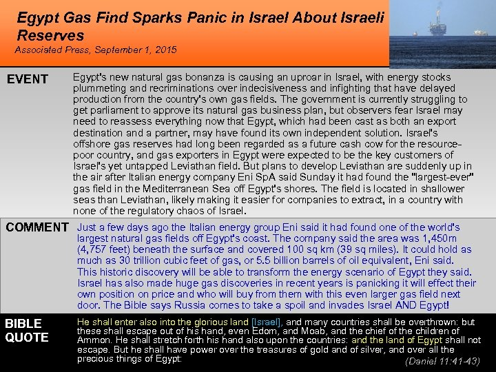 Egypt Gas Find Sparks Panic in Israel About Israeli Reserves Associated Press, September 1,