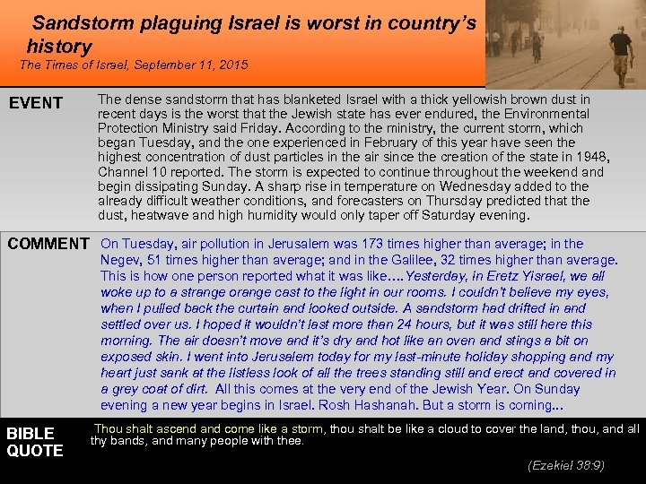 Sandstorm plaguing Israel is worst in country's history The Times of Israel, September 11,