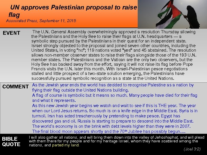 UN approves Palestinian proposal to raise flag Associated Press, September 11, 2015 EVENT The
