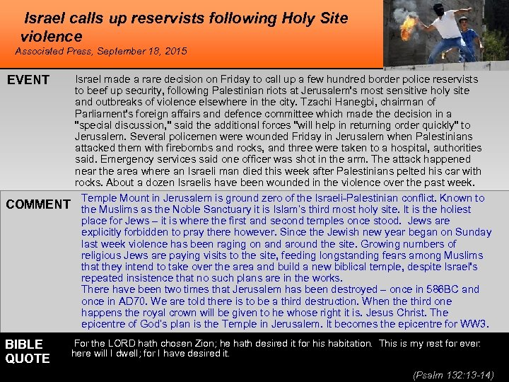 Israel calls up reservists following Holy Site violence Associated Press, September 18, 2015 EVENT