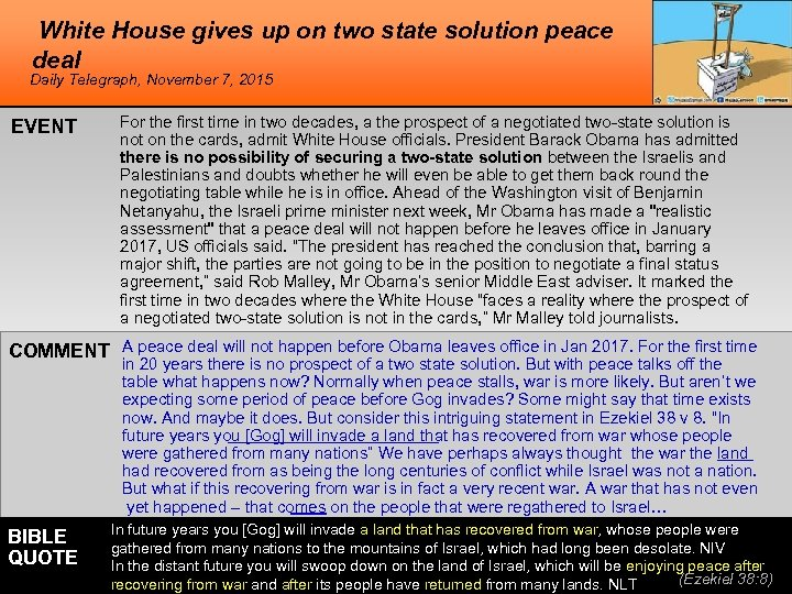 White House gives up on two state solution peace deal Daily Telegraph, November 7,