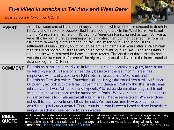Five killed in attacks in Tel Aviv and West Bank Daily Telegraph, November 1,