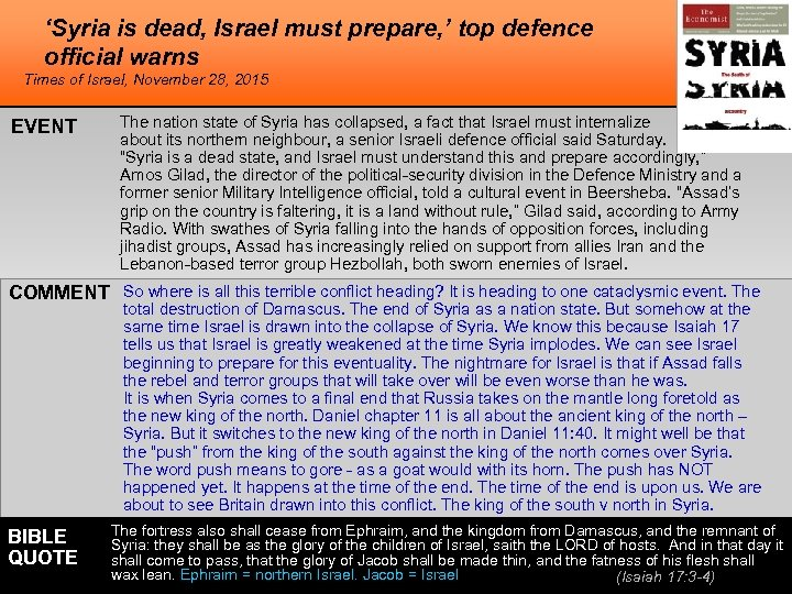 'Syria is dead, Israel must prepare, ' top defence official warns Times of Israel,