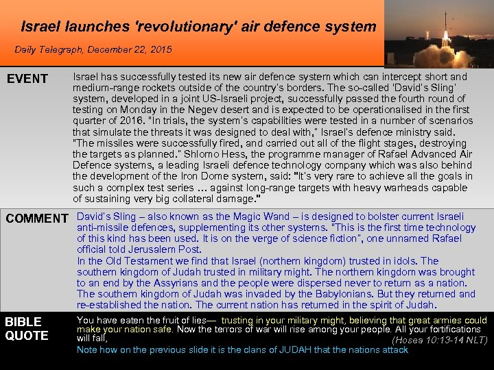 Israel launches 'revolutionary' air defence system Daily Telegraph, December 22, 2015 EVENT Israel has
