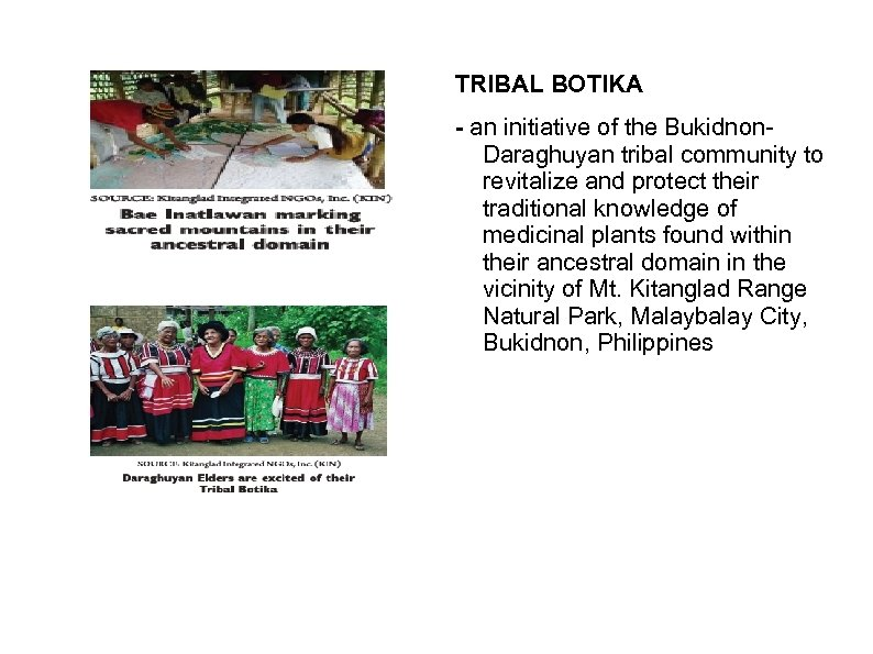 TRIBAL BOTIKA - an initiative of the Bukidnon. Daraghuyan tribal community to revitalize and
