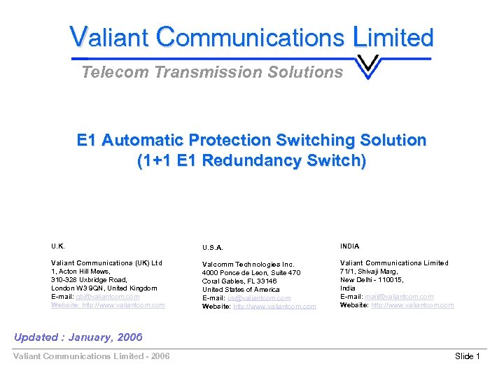 Valiant Communications Limited Telecom Transmission Solutions E 1 Automatic Protection Switching Solution (1+1 E