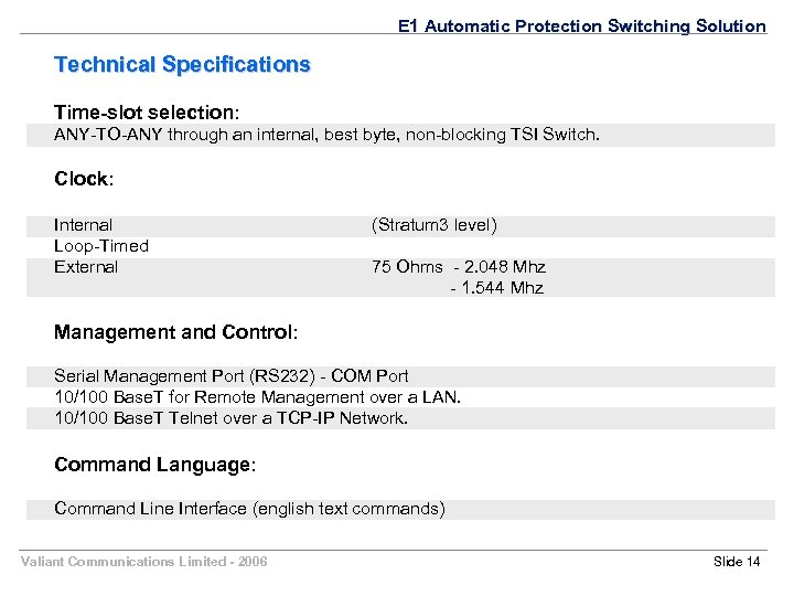 E 1 Automatic Protection Switching Solution Technical Specifications Time-slot selection: ANY-TO-ANY through an internal,