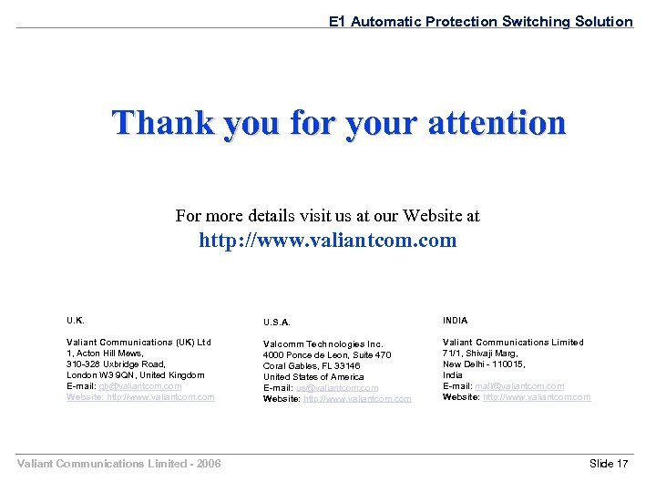 E 1 Automatic Protection Switching Solution Thank you for your attention For more details