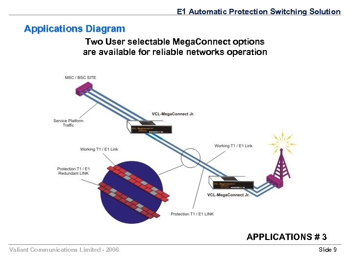 E 1 Automatic Protection Switching Solution Applications Diagram Two User selectable Mega. Connect options
