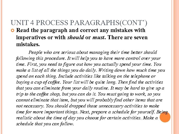 UNIT 4 PROCESS PARAGRAPHS(CONT') Read the paragraph and correct any mistakes with imperatives or