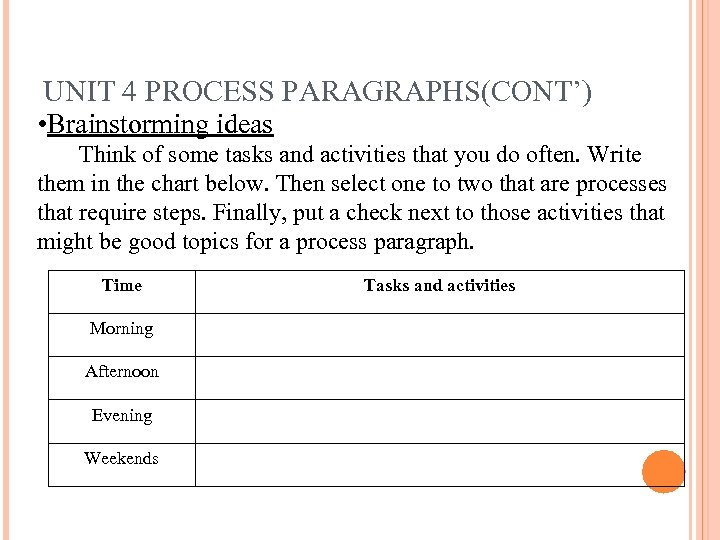 UNIT 4 PROCESS PARAGRAPHS(CONT') • Brainstorming ideas Think of some tasks and activities that