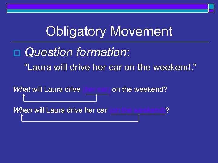 "Obligatory Movement o Question formation: ""Laura will drive her car on the weekend. """