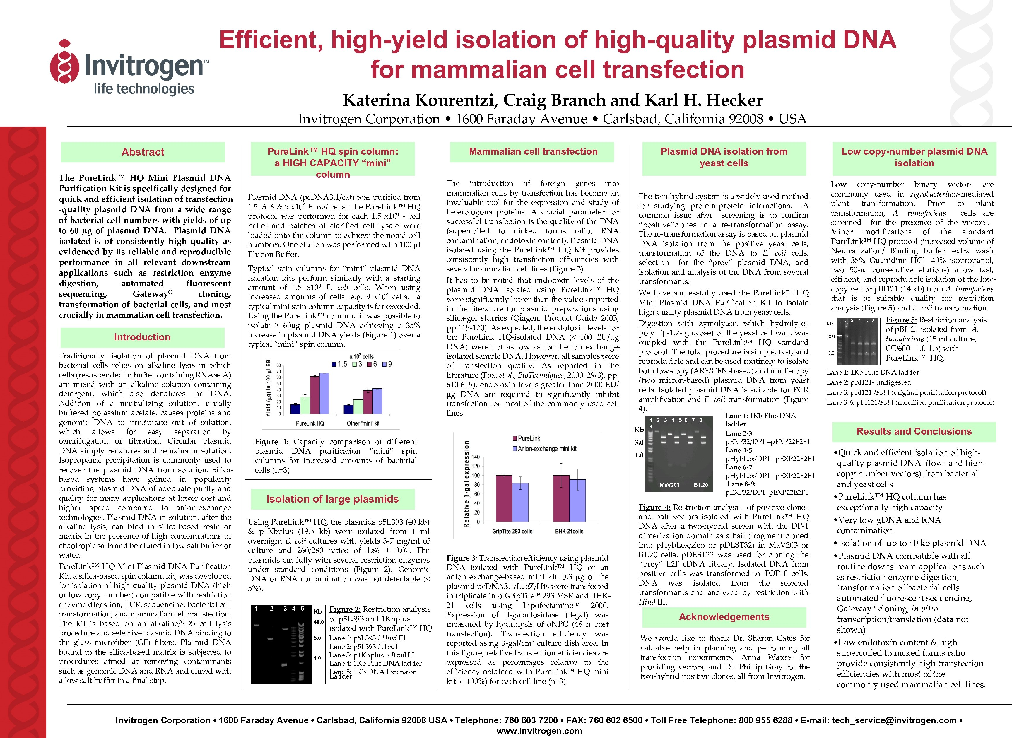 Efficient, high-yield isolation of high-quality plasmid DNA for mammalian cell transfection Katerina Kourentzi, Craig