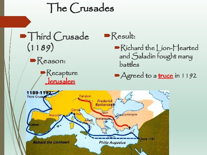 The Crusades Third Crusade (1189) Reason: Recapture Jerusalem Result: Richard the Lion-Hearted and Saladin