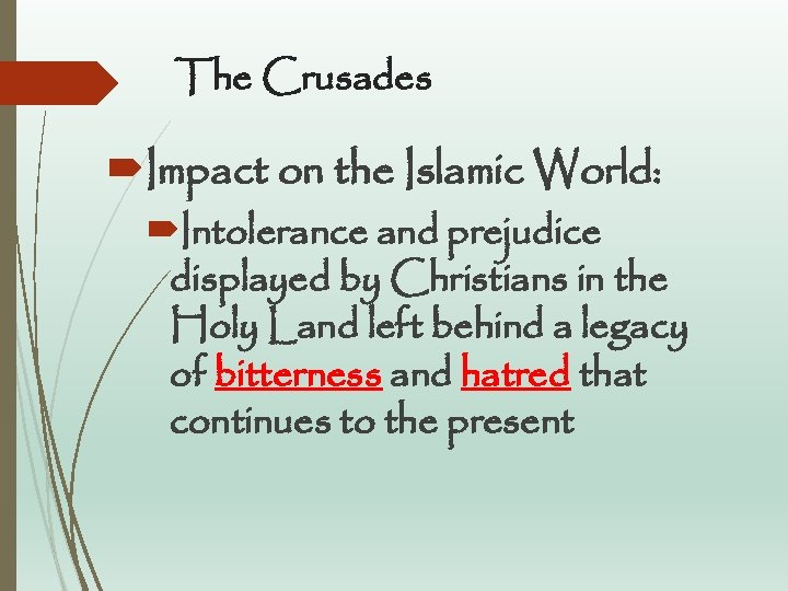 The Crusades Impact on the Islamic World: Intolerance and prejudice displayed by Christians in