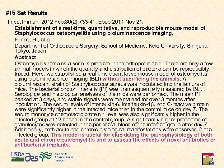 #15 Set Results Infect Immun. 2012 Feb; 80(2): 733 -41. Epub 2011 Nov 21.