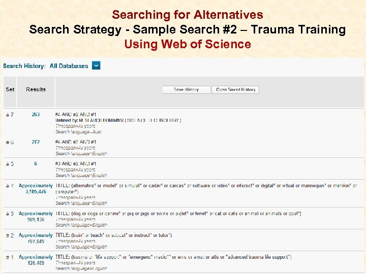 Searching for Alternatives Search Strategy - Sample Search #2 – Trauma Training Using Web