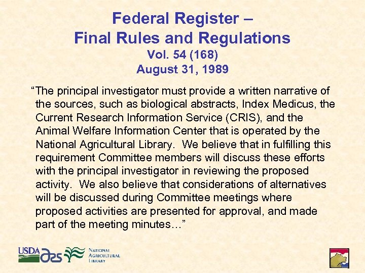 "Federal Register – Final Rules and Regulations Vol. 54 (168) August 31, 1989 ""The"