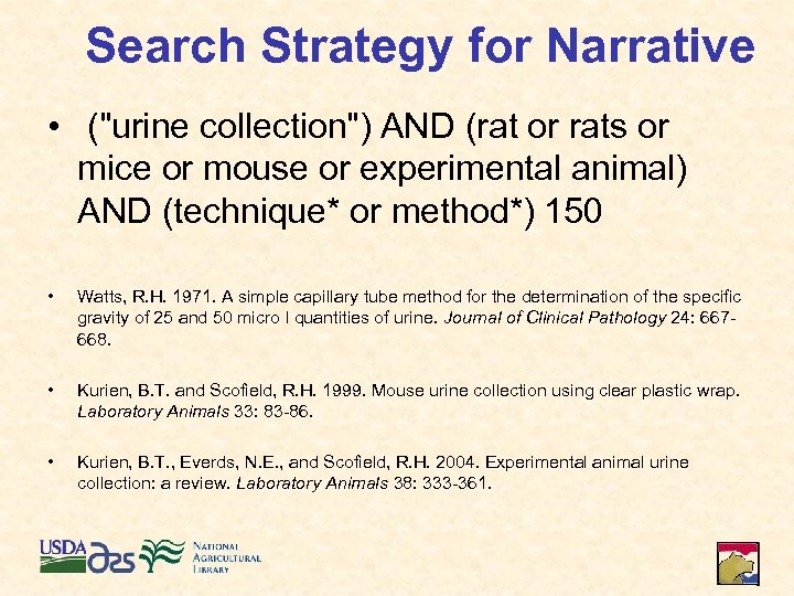 Search Strategy for Narrative • (