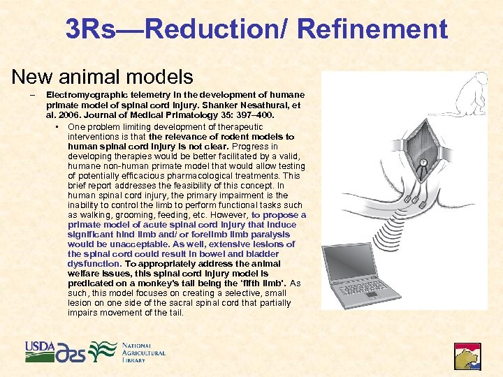 3 Rs—Reduction/ Refinement New animal models – Electromyographic telemetry in the development of humane