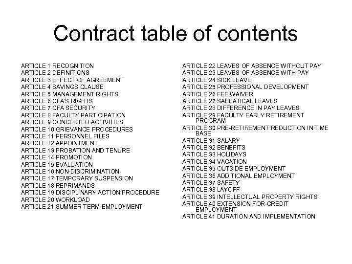 Contract table of contents ARTICLE 1 RECOGNITION ARTICLE 2 DEFINITIONS ARTICLE 3 EFFECT OF