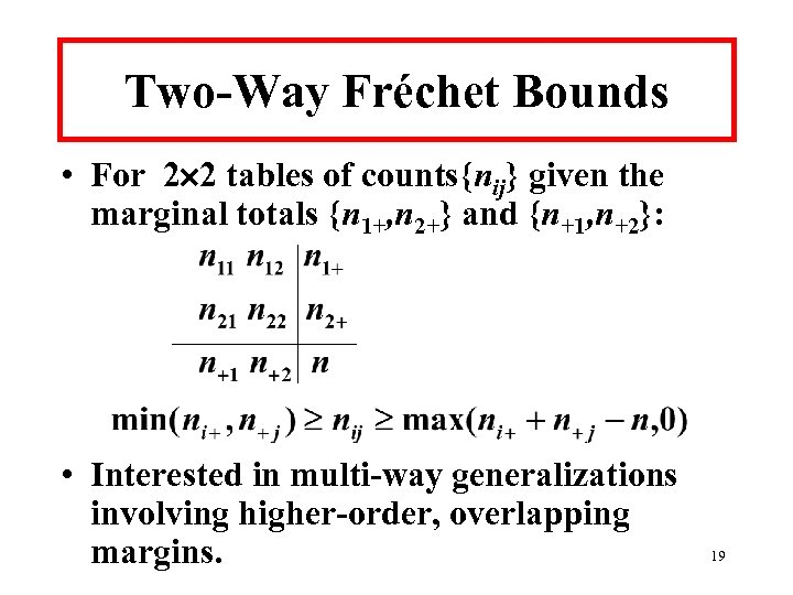 Two-Way Fréchet Bounds • For 2 2 tables of counts{nij} given the marginal totals