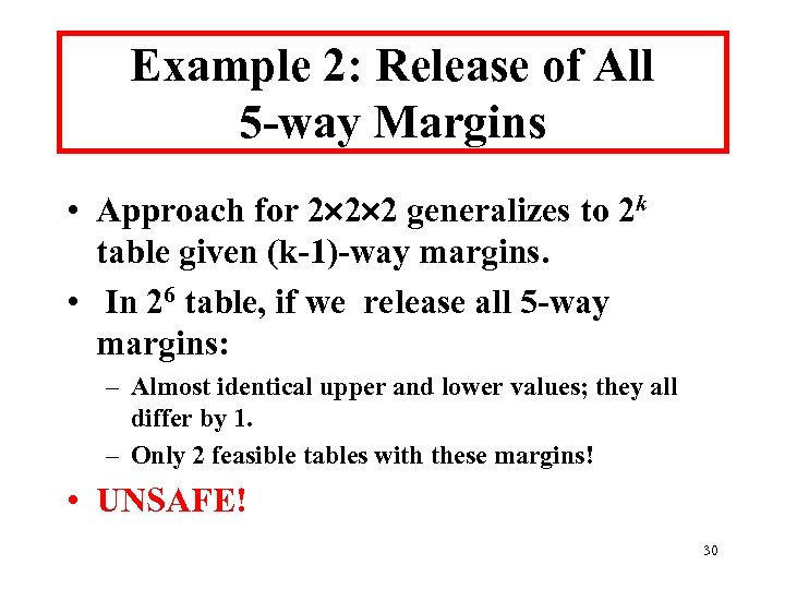 Example 2: Release of All 5 -way Margins • Approach for 2 2 2