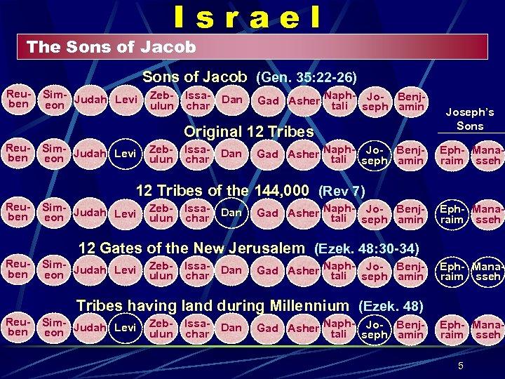 Israel The Sons of Jacob (Gen. 35: 22 -26) Reuben Sim- Judah Levi eon