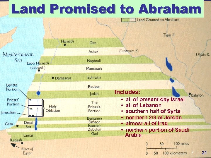 Land Promised to Abraham Includes: • • • all of present-day Israel all of
