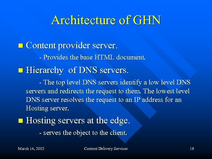 Architecture of GHN n Content provider server. - Provides the base HTML document. n