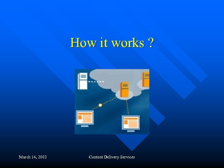 How it works ? March 14, 2002 Content Delivery Services