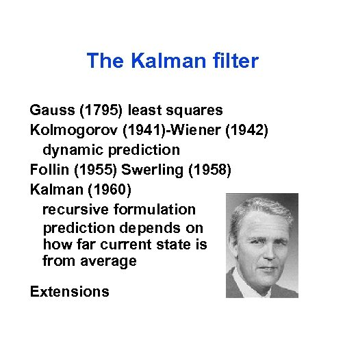 The Kalman filter Gauss (1795) least squares Kolmogorov (1941)-Wiener (1942) dynamic prediction Follin (1955)