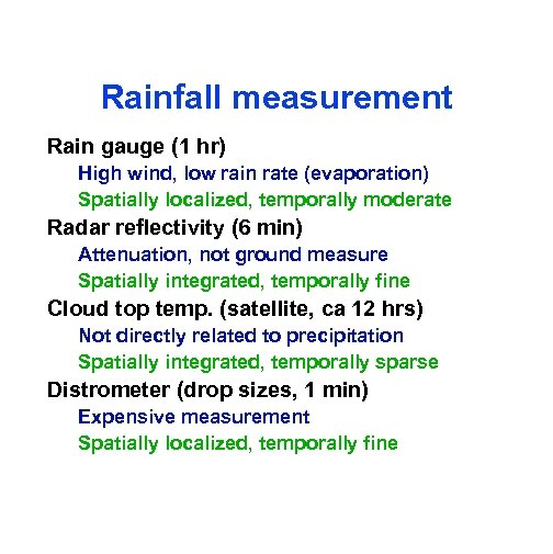 Rainfall measurement Rain gauge (1 hr) High wind, low rain rate (evaporation) Spatially localized,