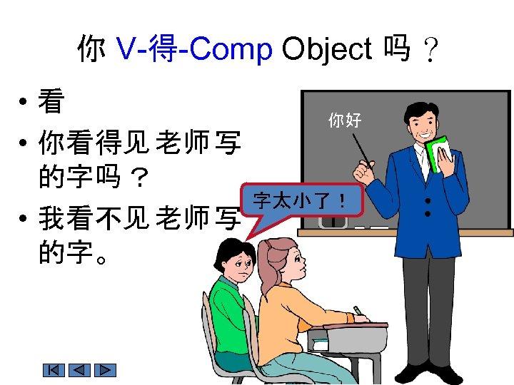 你 V-得-Comp Object 吗 ? • 看 • 你看得见 老师 写 的字吗 ? •