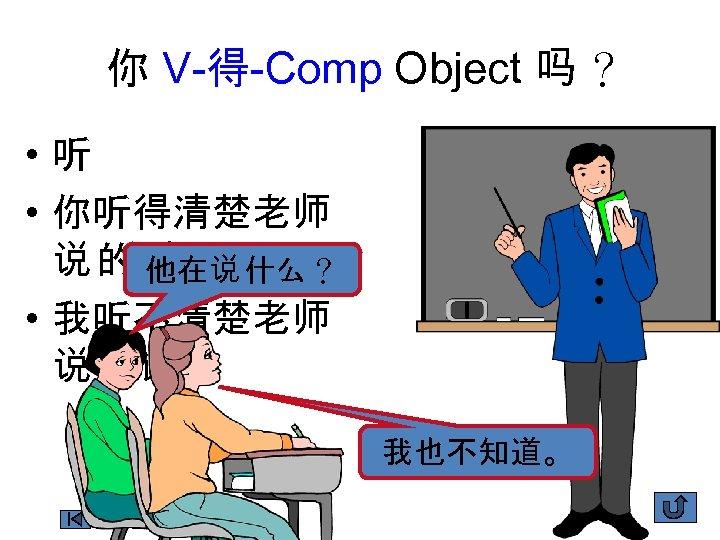 你 V-得-Comp Object 吗 ? • 听 • 你听得清楚老师 说 的话吗 ? 他在说 什么?