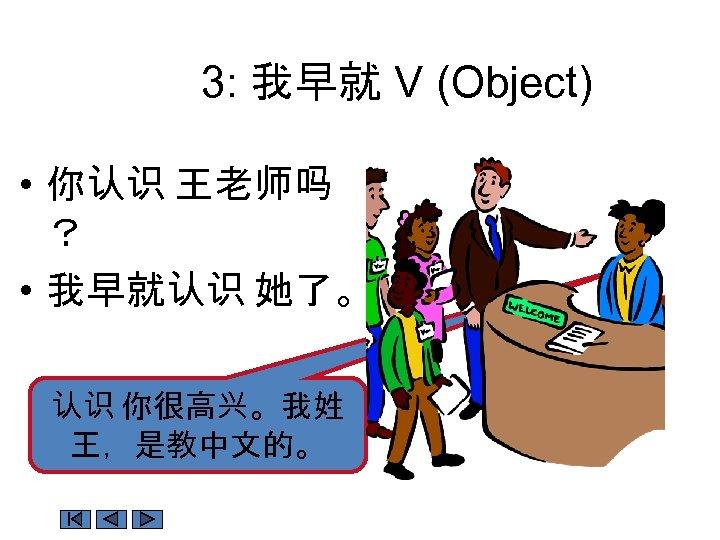 3: 我早就 V (Object) • 你认识 王老师吗 ? • 我早就认识 她了。 认识 你很高兴。我姓 王,是教中文的。