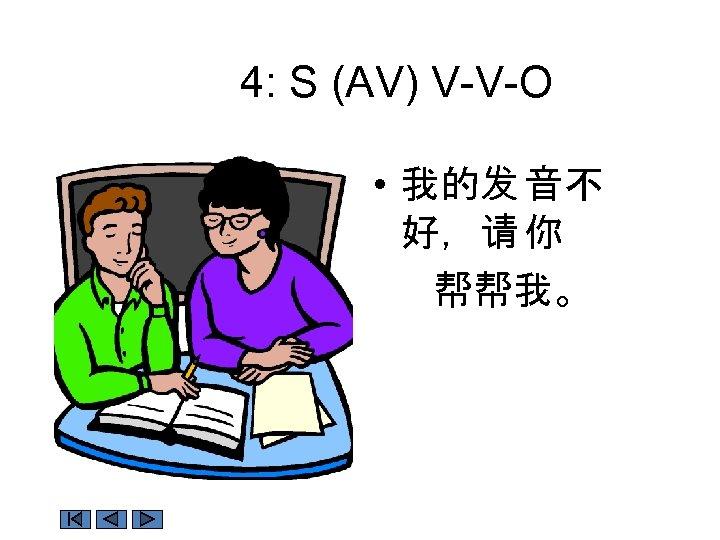 4: S (AV) V-V-O • 我的发 音不 好,请 你 帮帮我。
