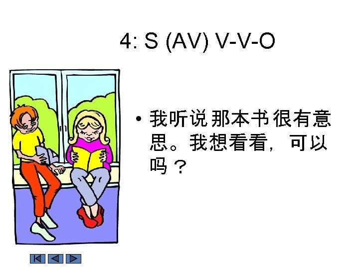 4: S (AV) V-V-O • 我听说 那本书 很有意 思。我想看看,可以 吗?
