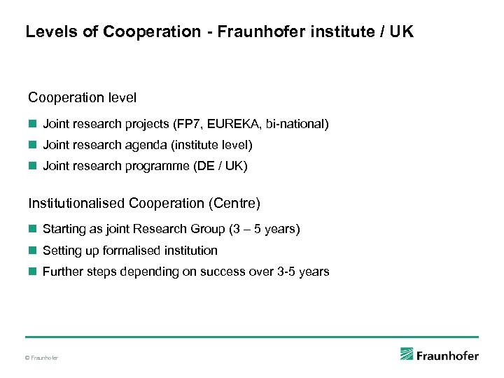 Levels of Cooperation - Fraunhofer institute / UK Cooperation level n Joint research projects