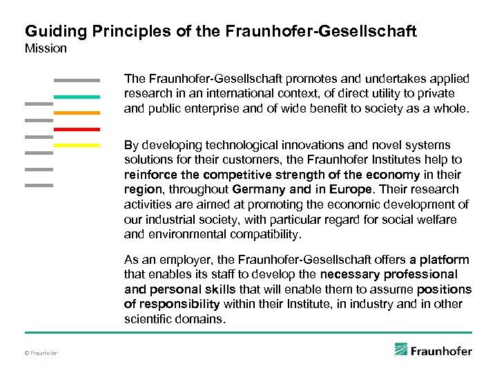 Guiding Principles of the Fraunhofer-Gesellschaft Mission The Fraunhofer-Gesellschaft promotes and undertakes applied research in