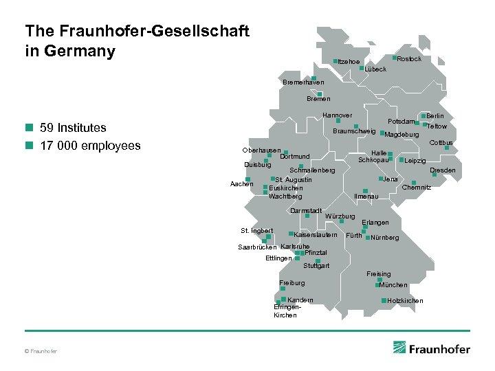 The Fraunhofer-Gesellschaft in Germany Rostock Itzehoe Lübeck Bremerhaven Bremen Hannover n 59 Institutes n