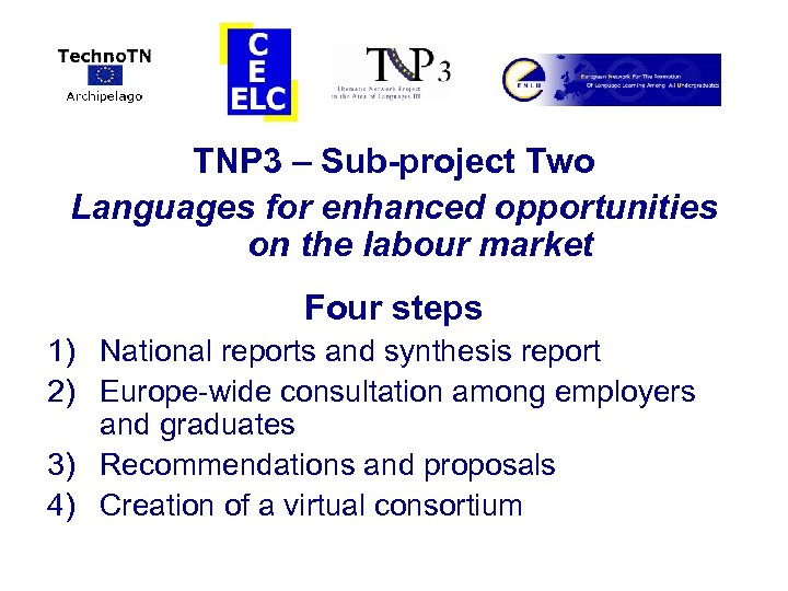 TNP 3 – Sub-project Two Languages for enhanced opportunities on the labour market Four