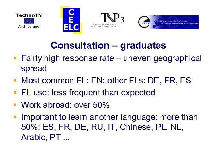 Consultation – graduates § Fairly high response rate – uneven geographical spread § Most