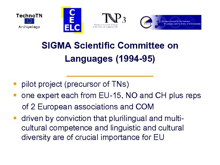 SIGMA Scientific Committee on Languages (1994 -95) _________ § pilot project (precursor of TNs)